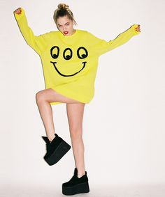 ♫ UK発人気ブランド☞2012AW新作 【 円高還元 ♫ LAZY OAF 】 Real Happy Knitted Jumper Yellow  1