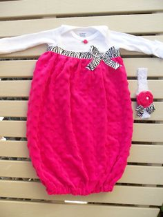 Layette Gown Set - Hot Pink Minky with Zebra and Headband $34.99
