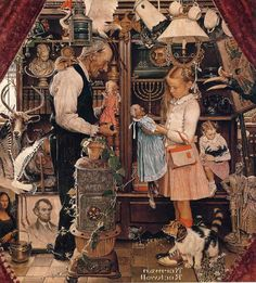 Norman Rockwell April Fool Girl And Shopkeeper