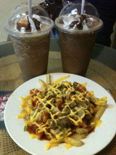 Pizza fries& java chips frappes