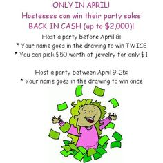April is a GREAT month to host a lia sophia jewelry party/catalog show!    You get these benefits on top of the usual hostess perks:  * 20% of your sales in FREE jewelry  * 40% of your sales in jewelry for only $15  * Up to 4 hostess bonus pieces (anything under $100 is $15, anything over $100 is $20-$40)  * Up to 5 items 1/2 OFF!    *To get the benefits, it must be a qualified party/catalog show - must have 2 or more orders that total at least $250. Simple as that :)    Who wants to party…