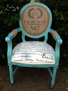 Items similar to French Louis XVI Arm Chair Shabby Chic Upholstered Burlap Custom Chalk Paint Annie Sloan Aqua Blue Teal Chairs Cottage Country Painted decor on Etsy