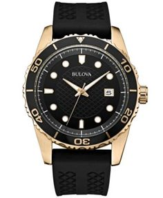 Bulova Men's Black Silicone Strap Watch 43mm 98B261 - Watches - Jewelry & Watches - Macy's