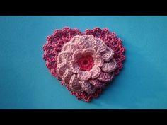 lesson 326 How to crochet Heart with flower  http://www.knittingforbeginners.ru/kak-viazat-serdecko/