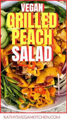 Salad with grilled peaches is a combination of tangy BBQ with the sweet taste of peaches, a marriage of flavors, dressed in a vegan citrus yogurt dressing. Grilled Peach Salad, Grilled Peaches, Vegan Grilling, Vegan Recipes Easy, Bbq, Dinner Recipes, Food, Barbecue, Barbacoa