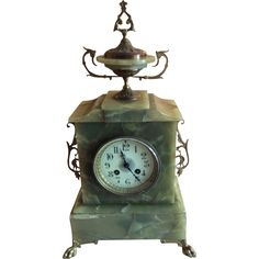 French Mantle Clock in green alabaster  Offered by Ruby Lane Shop Luxury French Collection