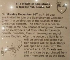 🌲The Heart of Christmas🌲 🎵A Nordic Jul, Joulu, Jol🎵  The Scandinavian Canadian Choir Christmas Concert is on Monday, December 16th at 7:30pm. Doors open at 7pm at the Scandinavian Cultural Centre, 764 Erin Street #Winnipeg  Tickets are $15/per person.