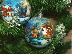 """Елочные игрушки """"Дачный поселок №2"""". Елочные шары. Семейное рождество. -"""