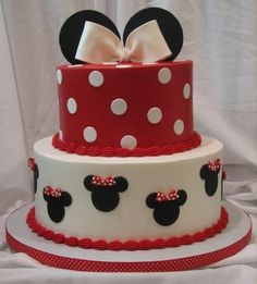 This cake was insjpired by a cake I saw  on here.  The cake is done in buttercream with fondant accents. The ears and bow are done in gumpaste.