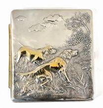 """Silver cigarette case """"Hunting"""""""