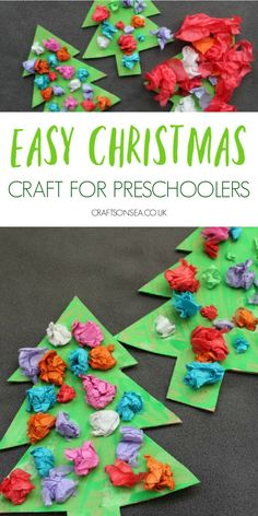 Use scrunched paper to maake this easy Christmas craft for preschoolers.