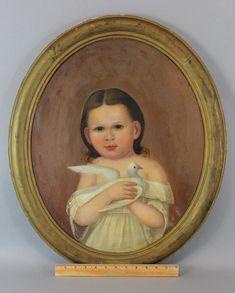 Antique 19thC American Folk Art Susan Goodwin & Dove, O/C Portrait Oil Painting #FolkArt