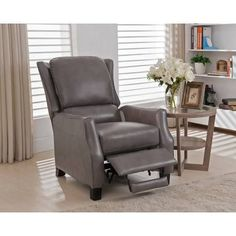 Staten Grey Premium Top Grain Italian Leather Recliner Chair