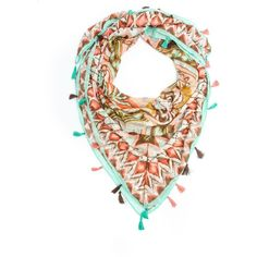 Bohomonde Suvi Square Tribal Print Boho Tassel Scarf Mint/Coral at... ($22) ❤ liked on Polyvore featuring accessories, scarves, mint green scarves, tribal scarves, coral scarves, mint scarves and bohemian scarves