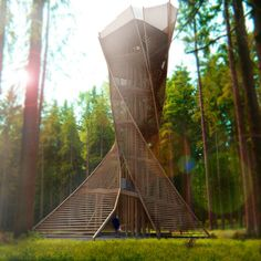 Twisting observation tower