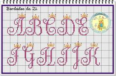 Alfabeto Cross Stitch Letters, Cross Stitch Boards, Cross Stitch Baby, Embroidery Fonts, Embroidery Patterns, Stitch Patterns, Pixel Crochet Blanket, Crochet Chart, Cross Stitching