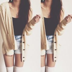 thigh highs and a long cardigan