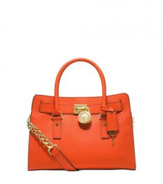 #MichaelKors clementine east west hamilton #satchel crafted in PVC #leather featuring double handles with 4.75 inches drop, leather and chain shoulder strap with 14.5 inches drop, magnetic snap closure, #goldtone hardware, signature charm, interior zip pocket, 2 slip pockets, key fob & protective metal feet at the base.