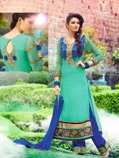 Green Royal Georgette Elegant Designer Salwar Kameez Designer salwar collection for Eid 2015 www.parisworld.in #Eid #salwar #parisworld