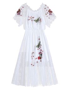 Off Shoulder Embroidered Lace Dress