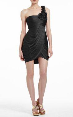Black Bcbgmaxazria One Shoulder Addison Cocktail Dress