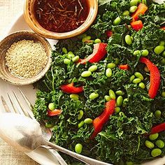 dish combines nutrient-rich kale, red pepper, and edamame with sesame ...