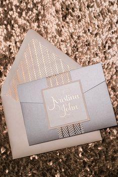 ADELE Suite Cutie Pocket Folder Package, blush and silver, chevron, boho pattern, rose gold foil stamping, silver pocket folder