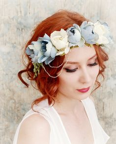 Faylinn crown  whimsical floral wreath by gardensofwhimsy on Etsy, $46.00
