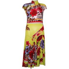 Pre-owned Class Roberto Cavalli Floral Dress (€72) ❤ liked on Polyvore featuring dresses, green, below the knee dresses, red floral dresses, red cap sleeve dress, red dress and floral-print dresses