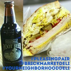 A Turkey & Cheese sandwich with a bottle of Sioux City Root Beer is a great way to start you week. Come in & try this #PleasingPair today ☺ #BrickMarketDeli #YourNeighborhoodDeli #Pomona #YummySandwiches #TurkeyAndCheese #Sandwich #RootBeer #SiouxCityRootBeer