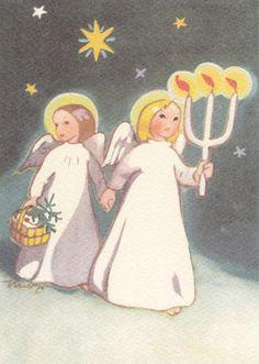 Martta Wendelin Christmas Tale, Christmas Scenes, Vintage Christmas Cards, Retro Christmas, Christmas Angels, Christmas Greetings, Kids Christmas, Xmas, Holiday Images