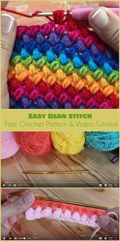 Crochet Diy Easy Bean Stitch [Free Crochet Pattern and Video Tutorial] Crochet Stitches Patterns, Stitch Patterns, Knitting Patterns, Embroidery Stitches, Crotchet Stitches, Different Crochet Stitches, Crotchet Patterns, Crocheting Patterns, Crochet Crafts