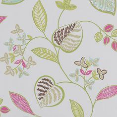 Samara wallpaper from Harlequin: white with lime green, turquoise, magenta, brown and tan botanical/vine/leaf pattern