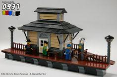 Old West's Train Station Lego Train Station, Lego Trains, Lego Modular, Lego Projects, Central Station, Lego Instructions, Train Layouts, Lego Building, Lego Creations
