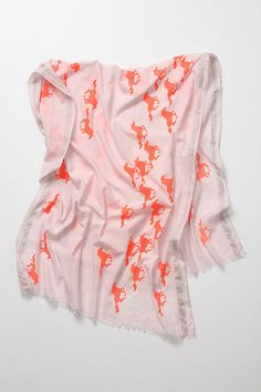Wild Horses Scarf from Anthropologie... perfect combination of electric orange and pale pink
