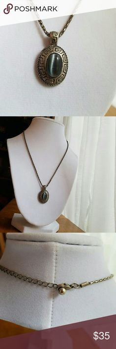 """Aztec style vintage silver necklace hand carved Adorable vintage Aztec pendant necklace. Carved silver with set-in gray jemstone. Snake style chain, 17"""" long. ASK QUESTIONS, MAKE OFFERS :) Jewelry Necklaces"""