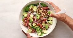 Bacon Avocado, Healthy Cooking, Cobb Salad, Sprouts, Beverages, Vegetables, Food, Veggies, Veggie Food