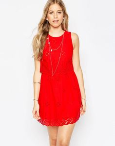 Buy it now. ASOS Mini Broderie Double Layer Sundress - Red. Casual dress by ASOS Collection, Woven cotton, Embroidered design, Double layered top, Round neckline, Zip back closure, Scalloped edges, Regular fit - true to size, Machine wash, 100% Cotton, Our model wears a UK 8/EU 36/US 4 and is 178 cm/5'10 tall. ABOUT ASOS COLLECTION Score a wardrobe win no matter the dress code with our ASOS Collection own-label collection. From polished prom to the after party, our London-based design team…