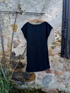 Little black dress gothic plain organic hemp knit jersey minimalist style