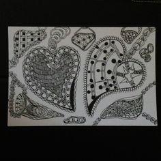 'Jeweled Hearts' line drawing.  5/30/2012