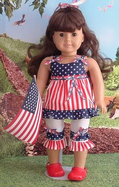 Stars and Stripes Capris Set for American Girl by MyGirlClothingCo