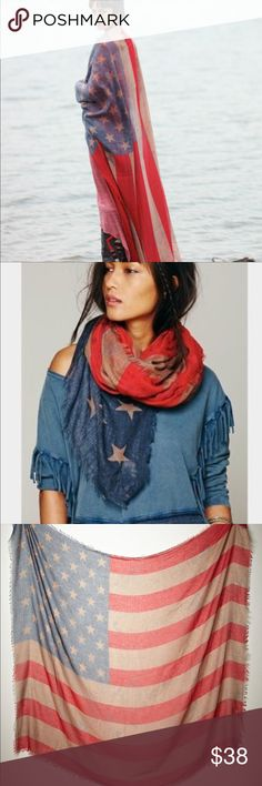 Free People Flag Scarf NWOT Free People Flag Scarf NWOT new never worn. Sold out!! Gorgeous. Long enough to wear like the first model pic. Free People Accessories Scarves & Wraps