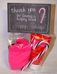 *Free* printable gift tags to thank parent volunteers! Last year I found the gloves and hand lotion in the dollar section at Target and the pink and black candy canes at Walmart.