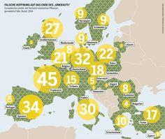 """Falsche Hoffnung auf das Ende des """"Unkrauts"""". Europäische Länder mit Herbizid-resistenten Pflanzen, gemeldete Fälle, Stand: 2014."""