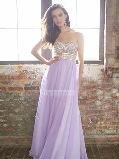 A-line strapless beaded bodice floor length chiffon Prom Dress PD11790