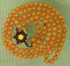 Tibet 108 Natural Orange Dongling Jade Beads Buddhist Prayer Mala Necklace