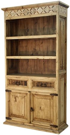 Classic Mexican Rustic Bookcase with Inlaid Marble