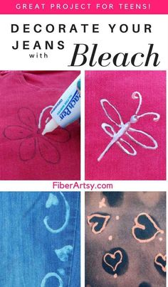 Simple Bleach Shirt Designs (Dyeing with bleach - Fabric Crafts DIY Diy For Teens, Crafts For Teens, Crafts To Sell, Easy Crafts, Upcycled Crafts, Burlap Crafts, Fabric Crafts, Diy Craft Projects, Craft Tutorials