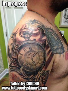 watch face date roses in progress tattoo by Chucho. Tattoo City Skin Art, Lockport, IL www.tattoocityskinart.com