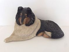 Sandicast Collie Dog Figure Figurine Doorstop - signed by Sandra Brue - 1984